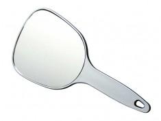 DEWAL PROFESSIONAL Зеркало косметическое с ручкой, пластик, серебристое 12х15 см