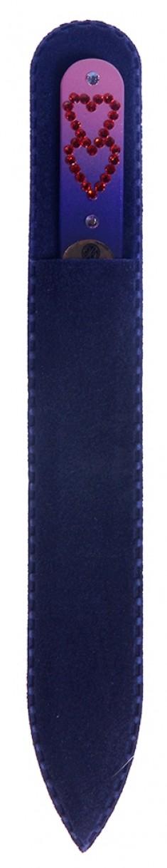 BHM PROFESSIONAL Пилочка стеклянная цветная, сердечки 135 мм BOHEMIA PROFESSIONAL