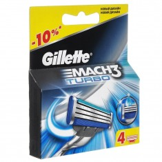 Gillette Mach3 Turbo сменные кассеты 4 шт