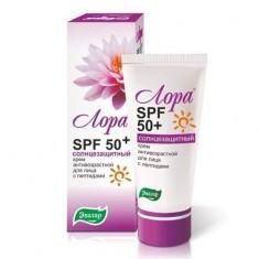 Лора SPF 50+ крем для лица солнцезащитный антивозрастной 30г Эвалар