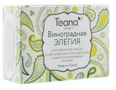 TEANA Мыло натуральное скраб-эксфолиант с пудрой из виноградных косточек для лица и тела Виноградная элегия 100 г