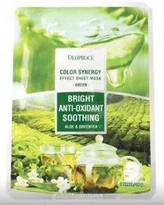 Маска с алое и зеленым чаем DEOPROCE Color synergy effect sheet mask green 20г