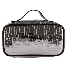 Косметичка-чемоданчик LADY PINK METAL серебряная