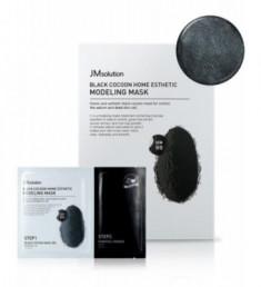Альгинатная маска с экстрактом древесного угля и шелкопряда JMSolution Black Cocoon Home Esthetic Modeling Mask 50г+5г