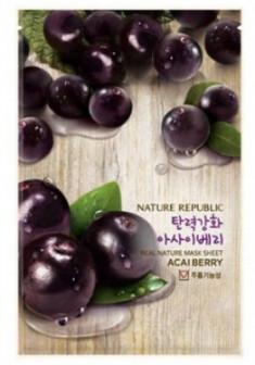 Маска тканевая с ягодами асаи NATURE REPUBLIC REAL NATURE ACAI BERRY MASK SHEET 23г
