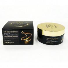 гидрогелевые патчи для глаз с 24-х каратным золотом и пептидами farmstay 24k gold & peptide solution ampoule eye patch