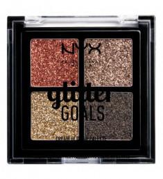 NYX PROFESSIONAL MAKEUP Палетка кремовых глиттеров Glitter Goals  Cream Quad Palette - Galactica 03