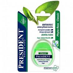 Президент Зубная нить фитофлосс Classic с пропиткой из зубной пасты 50м President