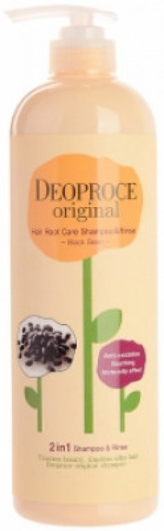 Шампунь-бальзам 2в1 бобы DEOPROCE ORIGINAL HAIR ROOT CARE 2IN1 SHAMPOO BLACK BEAN 1000мл
