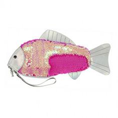 Косметичка LADY PINK плоская с пайетками розовая рыбка