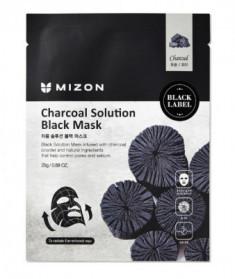 Тканевая маска c древесным углем Charcoal Solution Black Mask Mizon