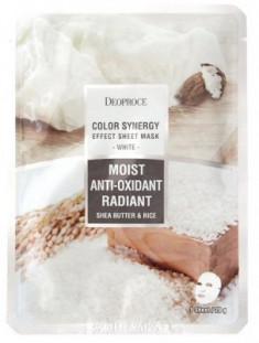 Маска с маслом ши и рисовой водой DEOPROCE Color synergy effect sheet mask white 20г