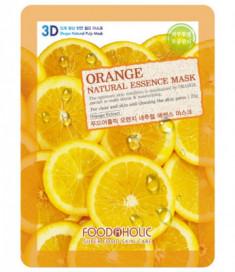 Тканевая 3D маска с экстрактом апельсина FoodaHolic Orange Natural Essence Mask 23мл