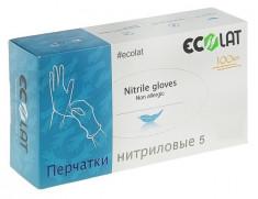 ECOLAT Перчатки нитриловые, голубые, размер M / 5 EcoLat 100 шт