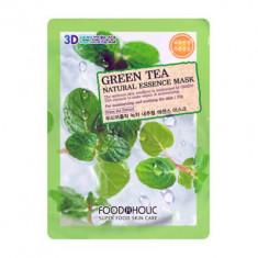 Тканевая 3D маска с экстрактом зеленого чая FoodaHolic Green Tea Natural Essence Mask 23 мл