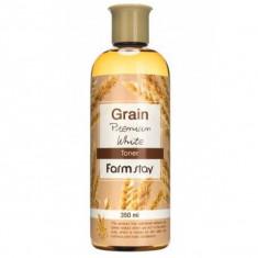 выравнивающий тонер с экстрактом ростков пшеницы farmstay grain premium white toner