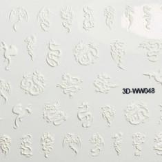 Anna Tkacheva, 3D-стикер №048 «Драконы. Змеи», белый