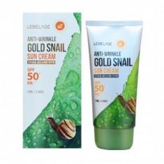 солнцезащитный крем против морщин с муцином улитки и золотом lebelage anti-wrinkle gold snail sun cream spf50+ pa+++