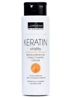 Крем-кондиционер с кератином для тонких/слабых волос LORVENN