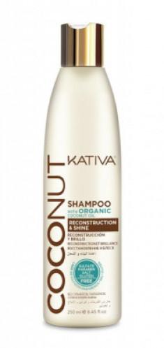 Восстанавливающий шампунь с органическим кокосовым маслом для поврежденных волос Kativa Coconut 250м