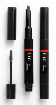 Карандаш механический для бровей 2 в 1 с гелем для моделирования Lic Mechanical eyebrow pen 02 Brown
