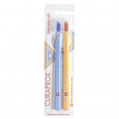 Curaprox щетки зубные ультрамягкие набор Retro Edition1№2 (голубая, желтая)