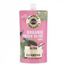 Planeta Organica ECO очищающий скраб для лица зеленые оливки 100мл