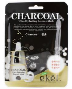 Тканевая маска для лица экстрактом древесного угля EKEL Charcoal Ultra Hydrating Essence Mask 25г