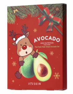 Новогодний набор тканевых масок с авокадо It's Skin The Fresh Mask Sheet Avocado GLOBAL NEW YEAR 21г*5 шт It'S SKIN
