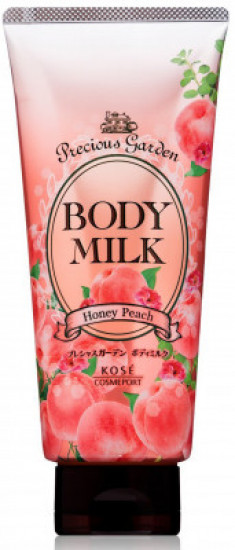 Молочко для тела с ароматом персика Kose Precious garden body milk honey peach 200г