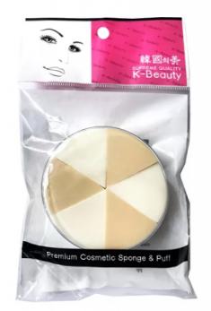 Спонж косметический в кейсе двухцветный 6 сегментов K-Beauty Premium Cosmetic Sponge NR-5