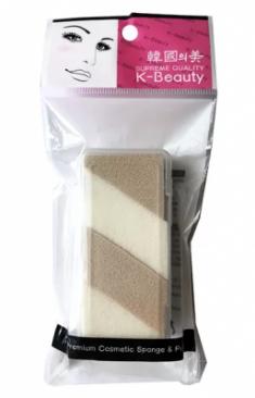 Спонж косметический двухцветный в кейсе 4 сегмента K-Beauty Premium Cosmetic Sponge NR-14