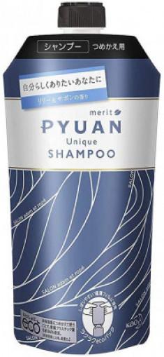 Шампунь для волос с ароматом лилии и мыла KAO Merit pyuan unique 340мл